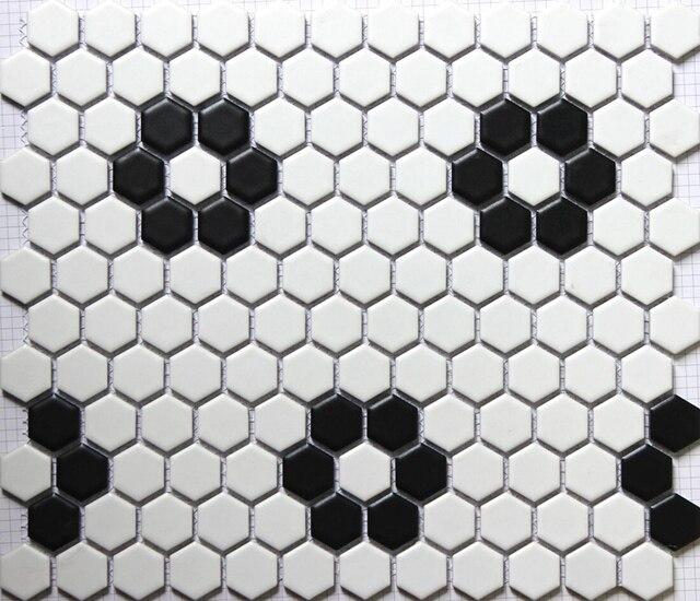 Carrelage de mosaïque en céramique hexagonale noir mat blanc dosseret de  cuisine carrelage de salle de bain 23x23mm carrelage mural 3D