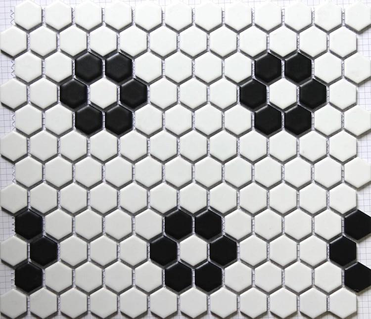 carrelage mural 3d hexagonal en ceramique noir et blanc mat carrelage de sol de cuisine de salle de bain et de piscine 23x23mm