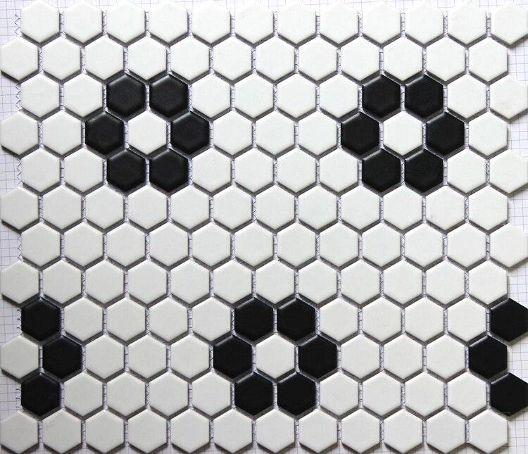 Mat Noir Blanc Hexagonal En Ceramique Mosaique Carrelage Cuisine Dosseret Piscine Salle De Bain Carrelage 23x23mm 3d Carrelage Mural Aliexpress