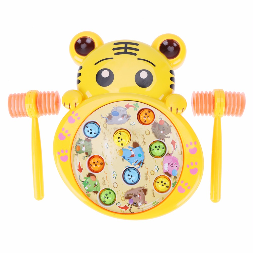 Cartoon Animals Electric Play Hamster Music Toys Hammer Tiger Hamster Children Family Interactive Games Children Christmans Gift