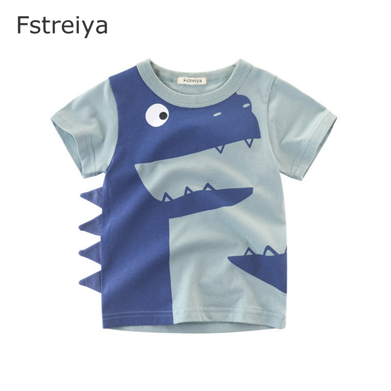 Baby boys summer t shirt kids crocodile clothes boy animal print Tees tiny cottons top Fstreiya 2019 Children Cartoon clothing in T Shirts from Mother Kids