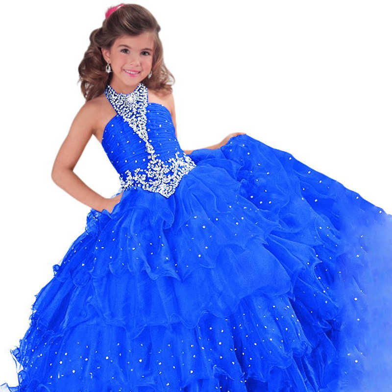 ... red little girls pageant dresses beaded puffy kids prom dresses blue  fancy children party dresses for 263251f94f9c