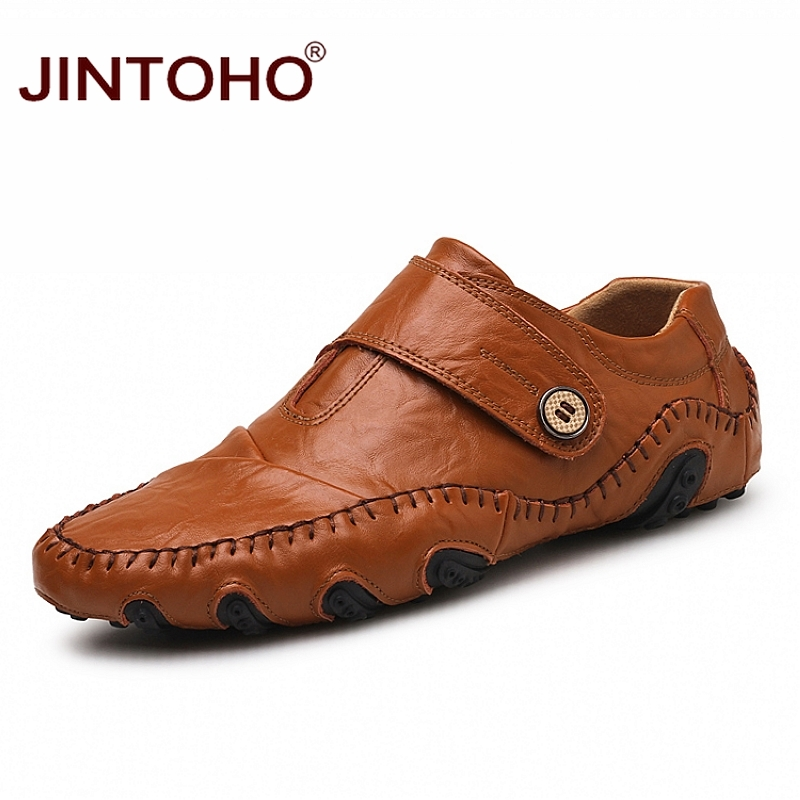 JINTOHO Big Size Fashion Men Genuine Leather Shoes Casual Men Flats Leather Loafers Luxury Brand Men Shoes Casual Male Shoes