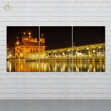 Golden Temple at Midnight Wall Art HD Prints Canvas Painting Modular Picture And Vintag Poster 3 PIECES