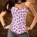 Сексуальные Маленькие Цветы Джинсовые Женщин Корсета Сексуальное Женское Белье Intimates Бюстье и Корсеты Горячие Продажи Красного Печатных Корсеты