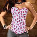 Sexy Small Flowers Denim Corset Women Sexy Lingerie Intimates Bustiers and Corsets Hot Sale Red Printed Corsets