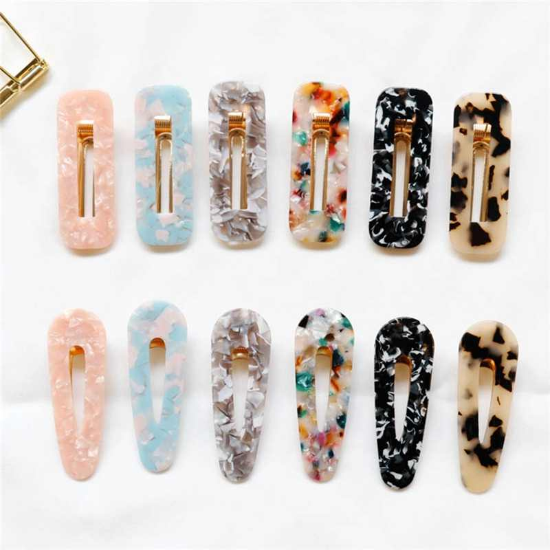 1Pc Vintage Women Hair Clips Marble Pattern Elegant Hair Accessories Hairpins Barrettes For Girl Birthday Xmas Gift
