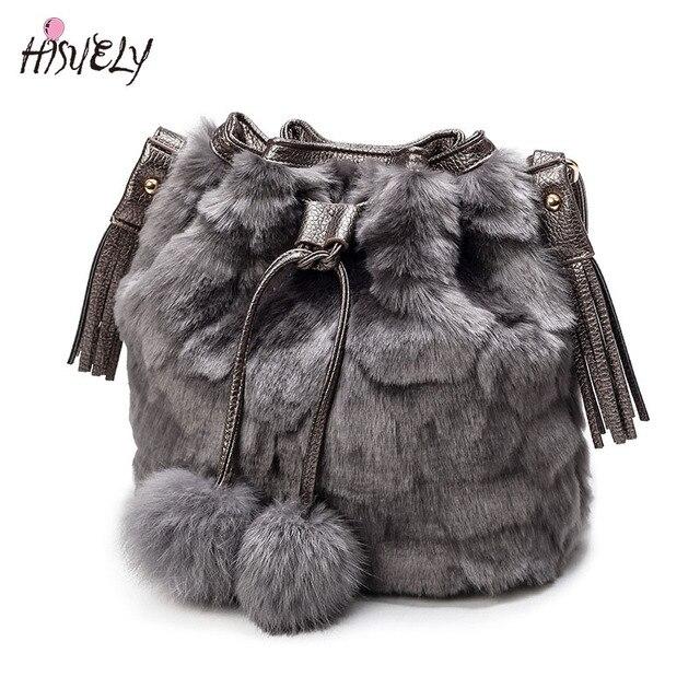 ef2b767a0b7b9 2017 New Vintage Faux królik futro torba kobieca kobiety Messenger torby na  ramię Cross chochlą torba