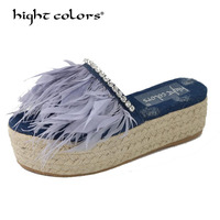 Thick bottom Slippers Female Summer 2019 New Crystal Blue denim Jean feather slippers Straw bottom Mules Platform Shoes Woman