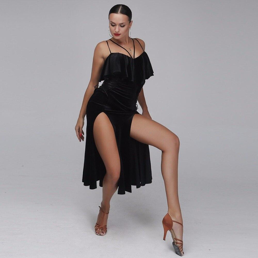 Professionale di velluto nero latin dance dress donna rumba samba costume sexy Prospettiva di cucitura salsa dress concorso costume
