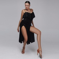 Professional Black Velvet Latin Dance Dress Woman Rumba Samba Costume Sexy Perspective Stitching Salsa Dress Competition