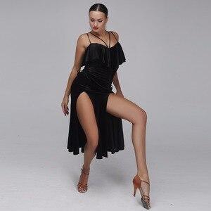 Image 2 - ชุดเต้นรำละตินผู้หญิงละตินสไตล์ samba เครื่องแต่งกาย Salsa ชุด Latin ปฏิบัติสวมใส่ชุดเต้นรำสีดำกำมะหยี่เต้นรำสวมใส่