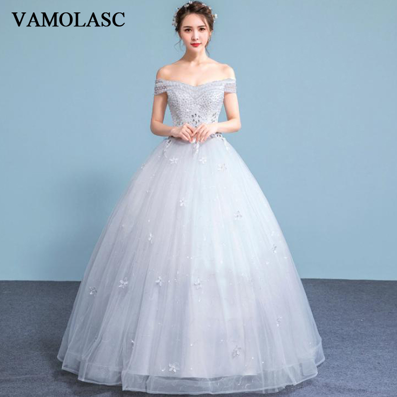 VAMOLASC Crystal Boat Neck Lace Appliques Ball Gown Wedding Dresses Pearls Short Sleeve Backless Bridal Gowns