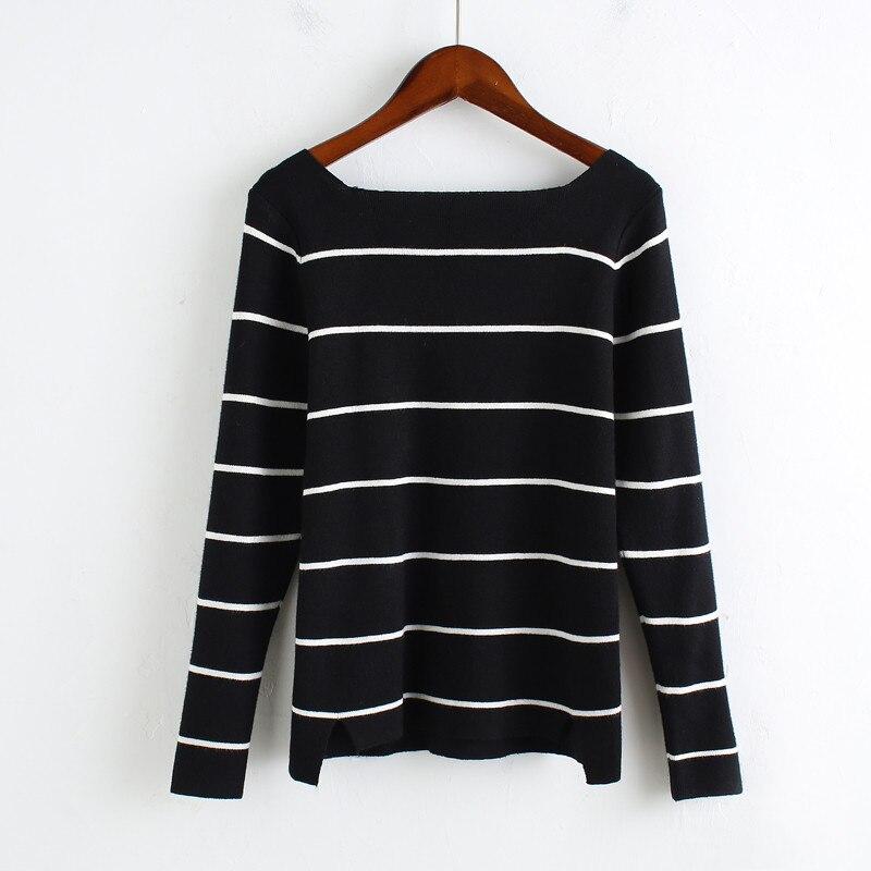 Women Sweater All-match Slim Striped Knitting Pullover New Korea ...