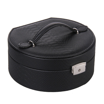 Mini Jewelry Box For Girls Gift Small Velvet Organizer Round Travel Case Rings Necklace Croc