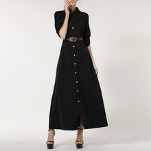 Autumn Turn-down Collar Long Maxi Dress Casual Long Sleeve Floor Length Vintage Dresses With Belt Cardigan Party Dress Vestidos spring autumn shirt dress women turn down collar full sleeves casual striped button belt dresses mini vestidos s xl 2019