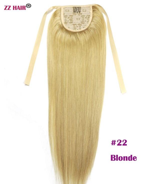 """ZZHAIR 80 г 1""""-24"""" машинное производство remy волосы лента Конский хвост на заколках человеческие волосы для наращивания конский хвост Натуральные Прямые Волосы - Цвет: #22"""
