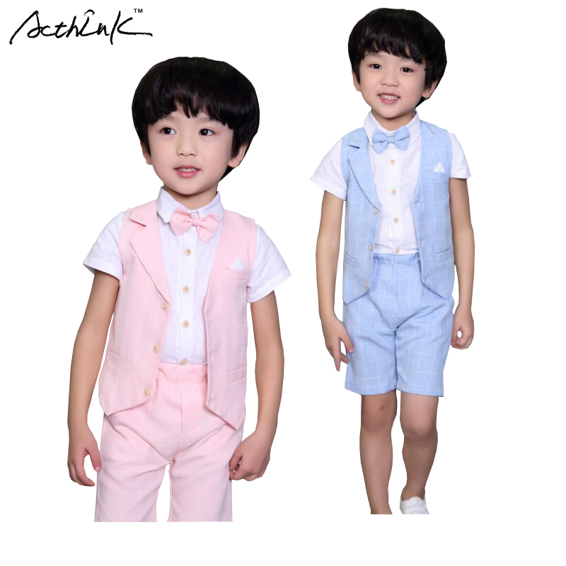 ActhInK New Boys Summer Formal 3Pcs Shirt +Shorts Waistcoat Suit Children England Style Wedding Suit with Bowtie for Boys, ZC033