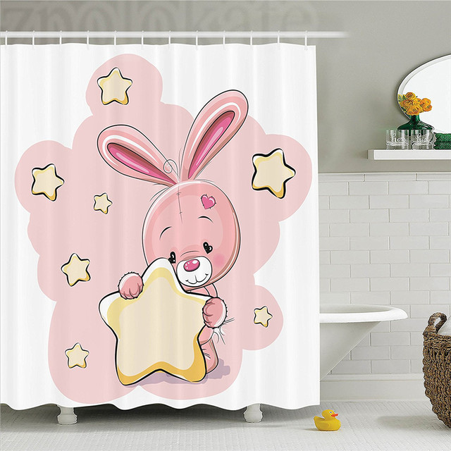 Teen Girls Decor Shower Curtain Set Rabbit Bunny With A Star Loving Art For Birthday Celebrations Baby Theme Bathroom Acc