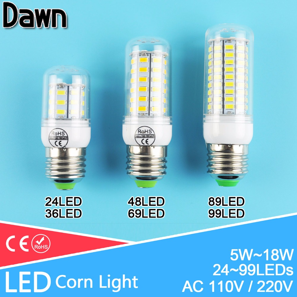 LED Bulb E27 E14 220v 110v 24~99LEDs Lampada LED Lamp Corn Light 5W 7W 9W 12W 15W 18W Warm Cold white Bombilla Ampoule Lamparas