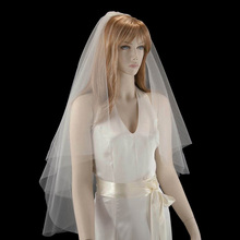 Layer 2 Bridal veils white ivory Raw edge Wedding Accessorie