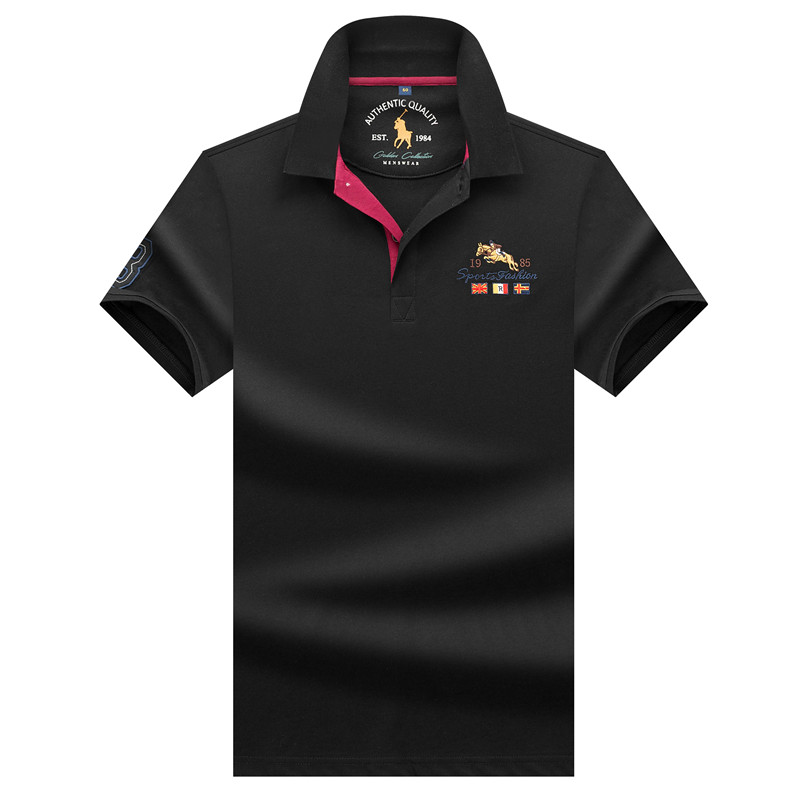 Tace & Shark brand men's   polo   shirts 3D embroidery solid color striped smart casual   polo   shirt men high quality menswear 2019