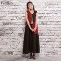 Плюс Размер S-5XL 2016 ZANZEA Женская Мода Летнее Платье Случайные Свободные Рукавов Хлопок Лен Длинные Макси Vestidos Горячая Продажа