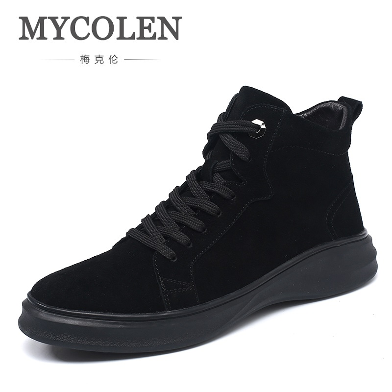 MYCOLEN 2018 The New Listing British Style Boots Sewing Lace-Up Handmade Plush Black High-Top Men Shoes Stivali Uomo Pelle the illusionists 2 0 2018 01 25t20 00