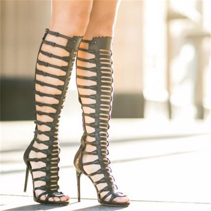 Chaussures Mujer Bottes À Noir Talons Sexy Parti Femmes Évider Rome Gladiateur Ouvert Genou Sandales Haute Bout Aiguilles Rue qA7WC5