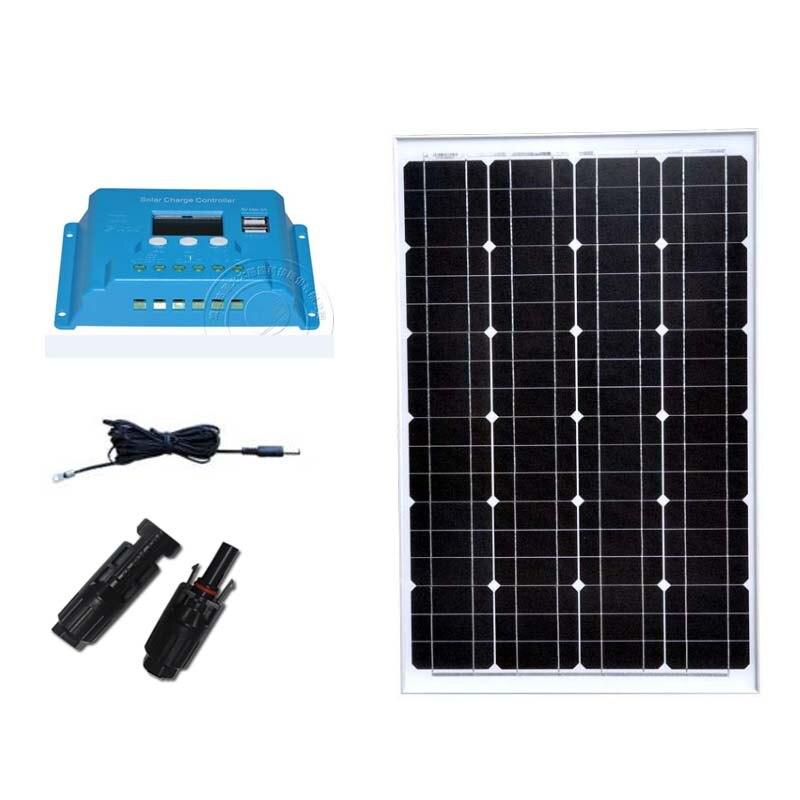 Kit Panneau Solaire 12 v 60 w chargeur de batterie Solaire contrôleur Solaire 12 v/24 v 10A double USB téléphone lampe à LED camping-car caravane Camp