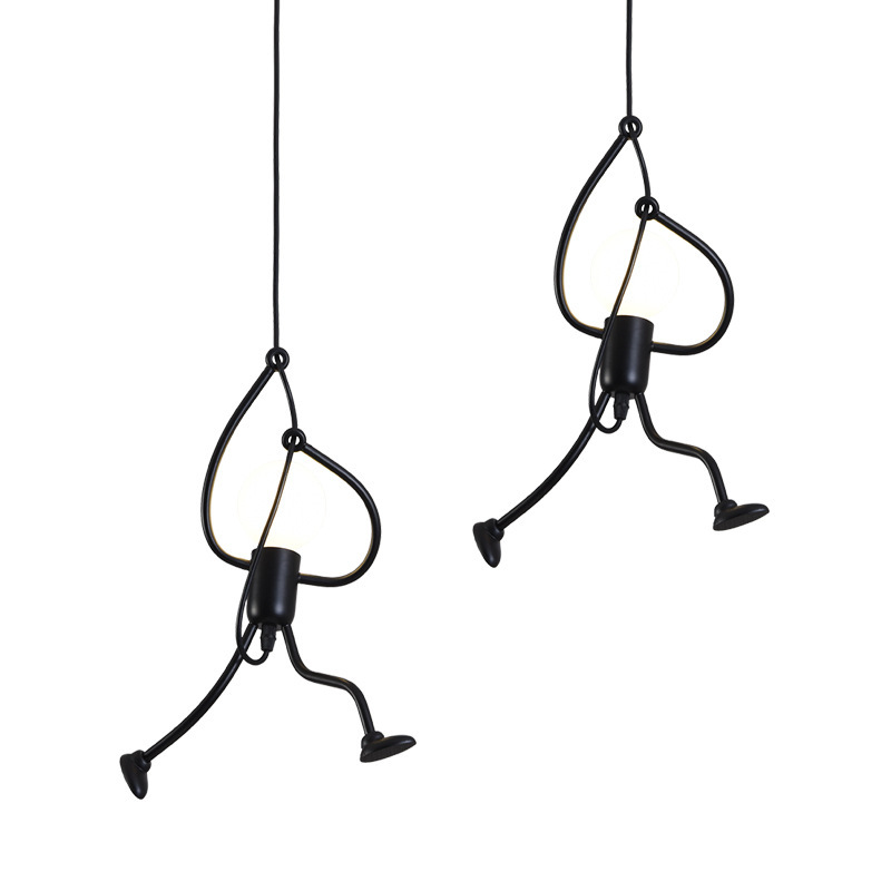 Nordic Iron Hanging Lights For Dining Room Little Man Climbing Trees Cord Pendant Lamp Vintage Droplight Loft Children Room