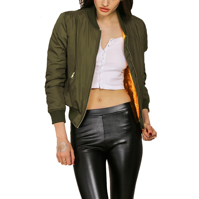 2016 Autumn Winter Women Olive Flight Army Green Bomber