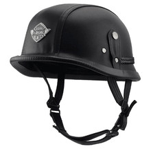 helmet vintage half face motorcycle helmets vespa helm moto harley retro cascos para black leather german solder