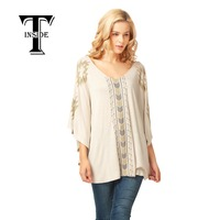 T INSIDE New Batwing Sleeved Blouse Female New Style V Neck Shirt Women Casual Soft Comfortable