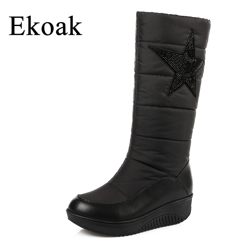 Ekoak Genuine Leather Women Snow Boots Fashion Warm Cotton Winter Boots Ladies Mid-calf Boots Wedges Platform Shoes Woman new 2017 hats for women mix color cotton unisex men winter women fashion hip hop knitted warm hat female beanies cap6a03