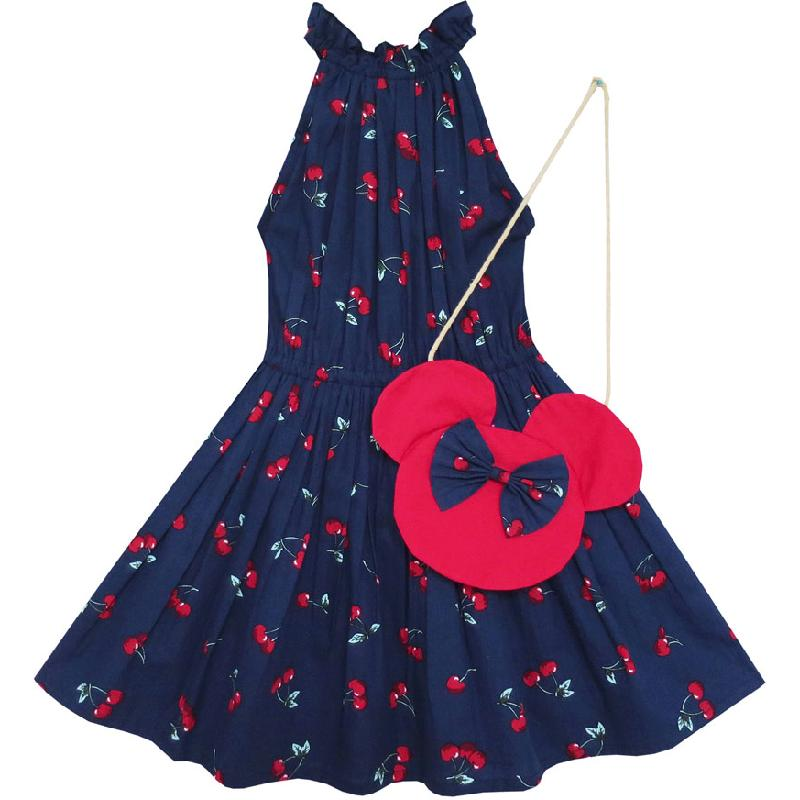 Blumenmädchenkleid Cherry Fruit Cotton mit süßer Handtasche Blau 2018 Sommer Princess Wedding Party Dresses Size 4-8