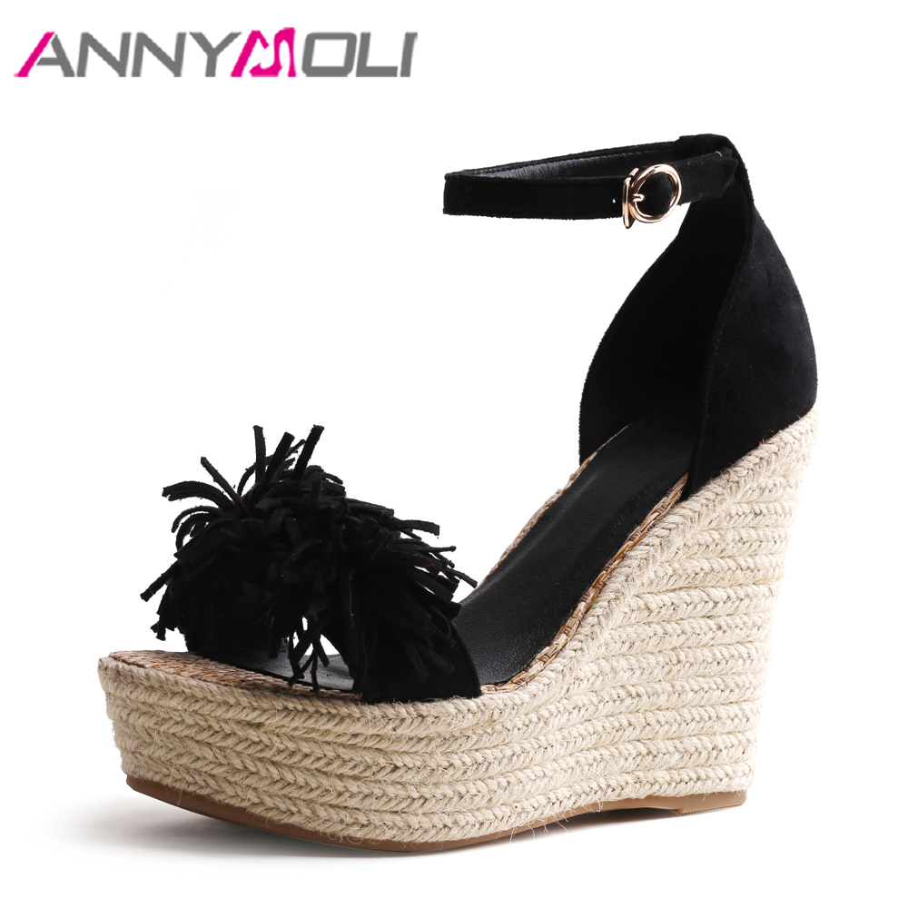 ANNYMOLI Women Sandals High Heels Platform Shoes Tassel Wedges Ankle Strap Shoes Black Red Summer Sandals