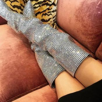 2018 Super Hot Luxury Full Crystal Women Over The Knee Boots Sexy Pointy Toe Ladies Wedge Heel Boots Fashion zapatos de mujer