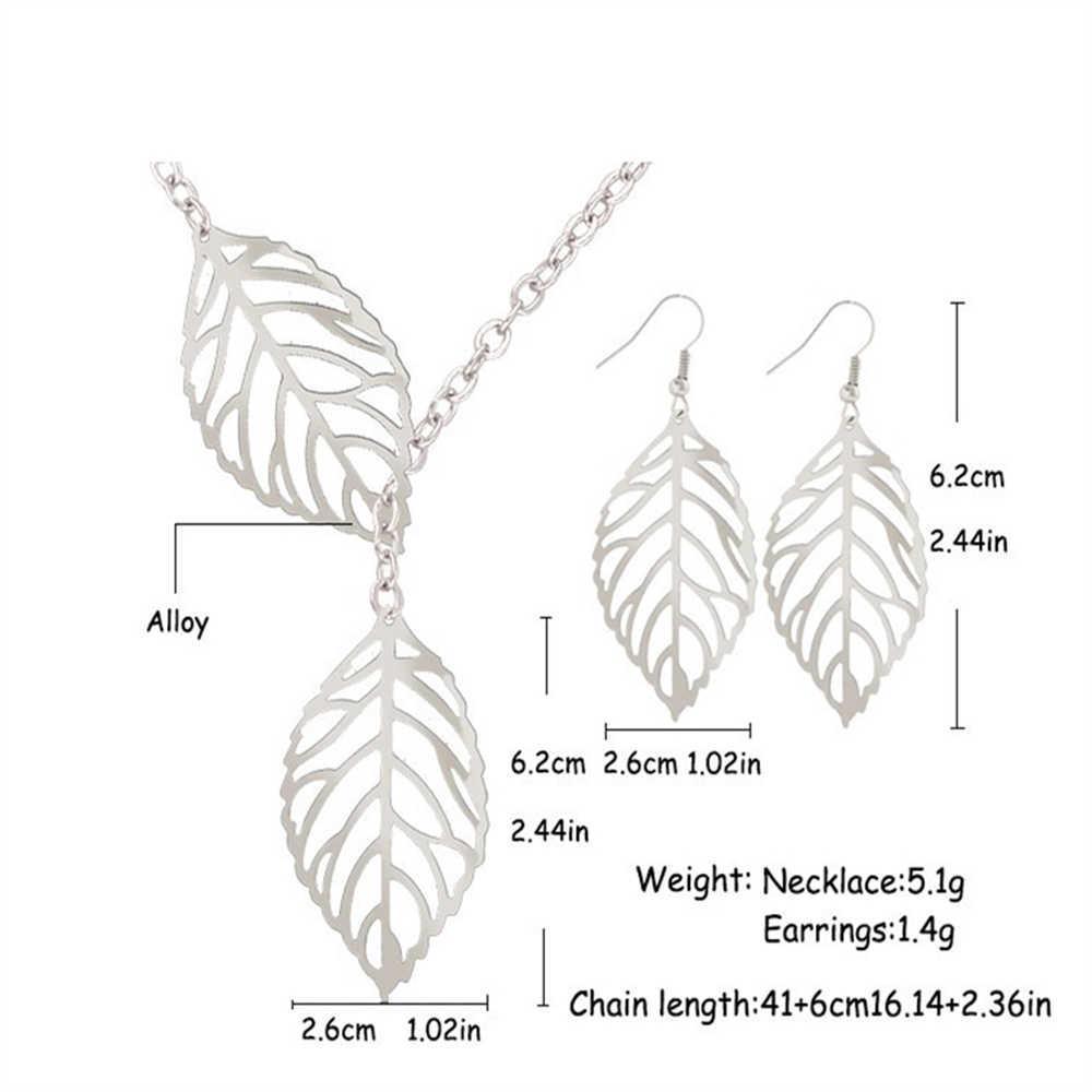 KUNIU Vintage Schmuck in Sets Antiken Blätter Haken Hohl Baumeln Ohrringe Halskette Silber Gold Hochzeit Schmuck Set