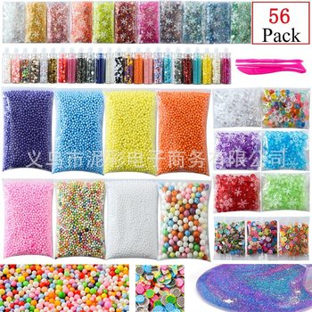 56 Pack Slime Making Kit Colorful Foam Ball Granules Flat Beads Gold Powder  Candy Paper Polymer Clay Set Children's DIY Material