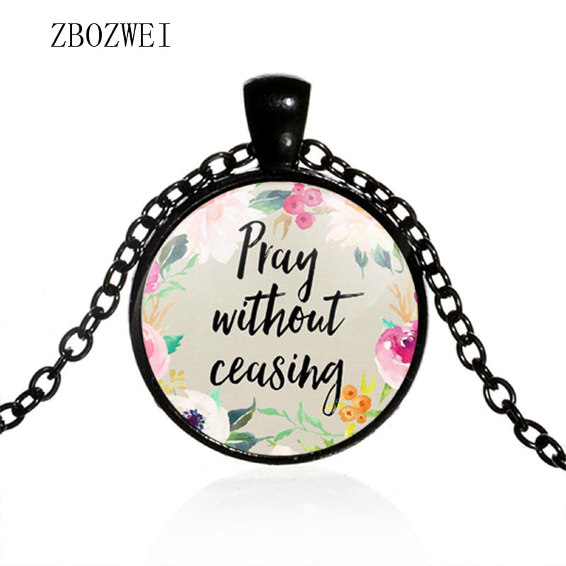 Image 2 - Hot models fashion prayer does not stop the Bible Christian  inspirational glass pendant necklace jewelry for men and womenChain  Necklaces