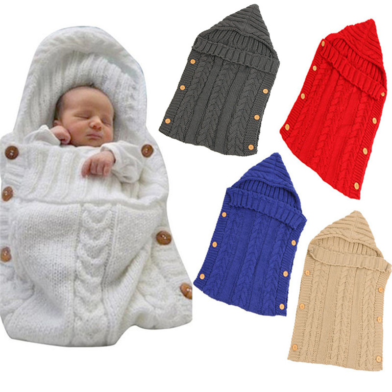 1pcs Baby Swaddle Wrap Warm Wool Crochet Knitted Newborn Infant Sleeping Bag Baby Swaddling Blanket Baby Blanket Sleep Bags