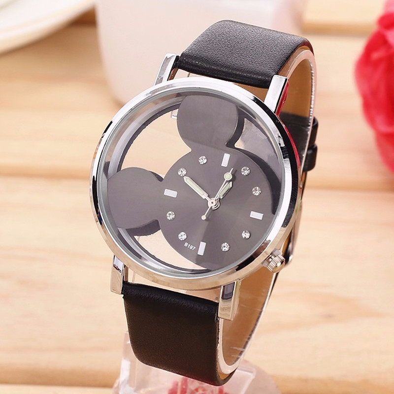 Relogio Feminino Fashion Cartoon Mickey women Watch Men Transparent Hollow quartz watches Leather strap Kid wristwatch girl Gift relojes mujer classic new fashion casual watches women dress quartz watch mickey hollow dial leather wristwatch relogio feminino