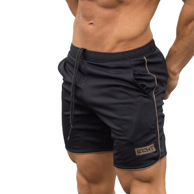 Pantalones cortos negro suave para hombre entrenamiento deportivo culturismo