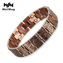 WelMag Zuiver Koper Magnetische Armband Man Charme Vintage Dubbele Rij Sterke Magneten Therapie Bio Mannelijke Armbanden Homme Sieraden 2019