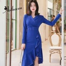 06f9703413 Mujeres Ruffles asimétrico vestido 2018 otoño azul manga larga con muescas  de cuello elegante vestido de trabajo de oficina Vest.
