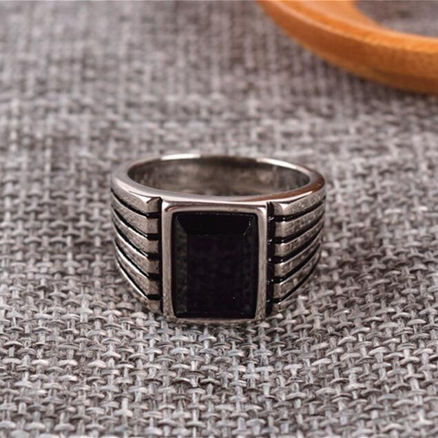 Square Black Onyx Stone Simple Brief Design Band Ring Men In Stainless Steel Gold / Silv ...