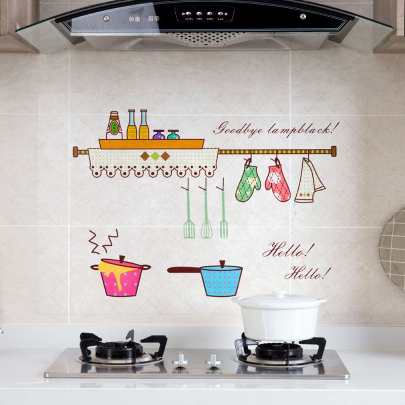 US $2.13 32% OFF|Kitchen Wall Stickers Cute Cook Sweet Food DIY Wall Art  Decal Decoration Oven Dining Hall Wallpapers PVC Wall Decals/Adhesive-in  Wall ...