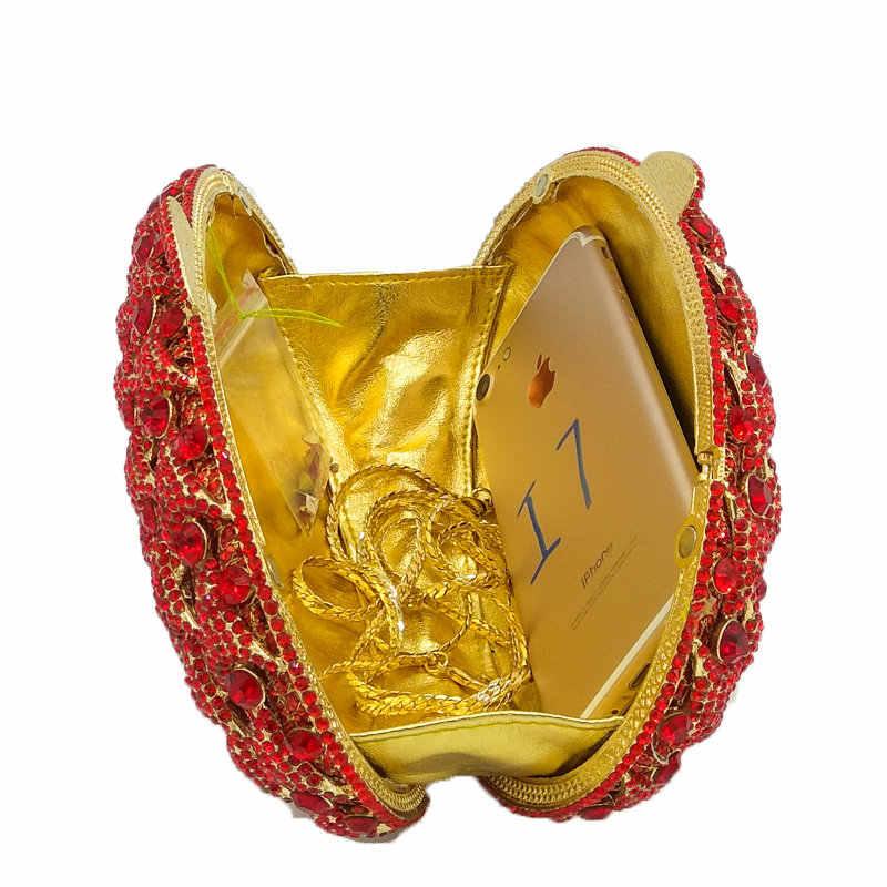 Boutique de FGG Ruby Red С кристалалми и стразами Для женщин из металла Клатчи вечерняя сумочка; BS010 выдалбливают Свадебная вечеринка Пром сумочка minaudiere кошелек