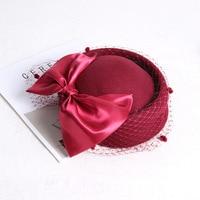 Classic Pure Wool Fedora Cap Girls Big Bow Wool Beret Hat Red Wedding Church Veil Hat British Style Ladies Autumn Winter Hat